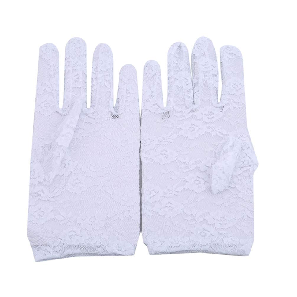 LANWF Short Lace Gloves Anti-Slip UV Sun Protection Gloves Floral Gloves for Wedding Driving Cycling Outdoor,White