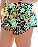 COMVIP Women's Casual Floral Printed Tassels Elastic High Waist Shorts Green M