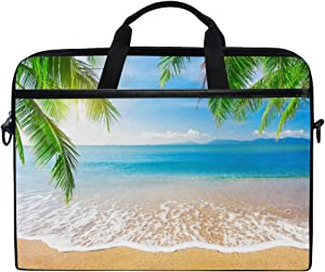 JOYPRINT Laptop Sleeve Case, Tropical Ocean Sea Beach Palm Tree 14-14.5 inch Briefcase Messenger Notebook Computer Bag with Shoulder Strap Handle for Men Women Boy Girls