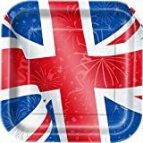 Best Of British Union Jack Square 9 Inch Paper Plates ~ 8