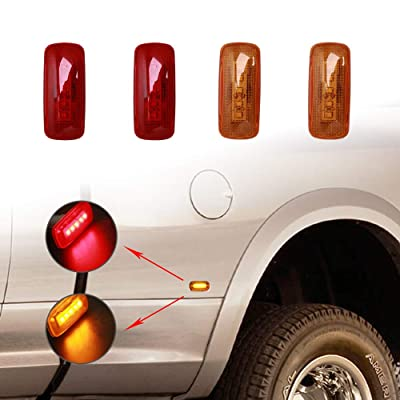 Rear Bed Side Marker LED Fender Lights for 2003-2009 Dodge and 2011-2016 Ram Dually Truck Double Wheel Side Fenders Aftermarket Replacement, Full kit, Clear (2x Amber + 2x Red) OE# 55077458AA 264131: Automotive [5Bkhe0115211]