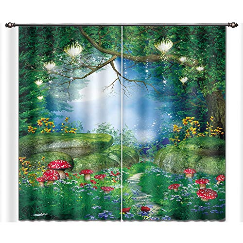 LB Teen Kids Decor Collection,2 Panels Room Darkening Blackout Curtains,Fairy Tale Forest Scenery 3D Window Treatment Curtains Living Room Bedroom Window Drapes,28 by 65 inch Length ()