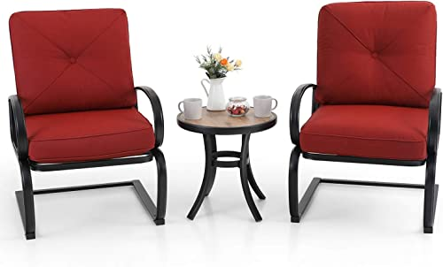 PHI VILLA Outdoor Springs Motion Chairs and Round Table Bistro Furniture Set