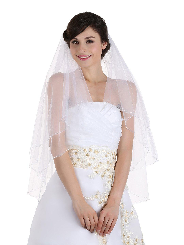 2T 2 Tier Sequin Beaded Edge Wedding Veil - White Waltz Knee Length 45'' V050 by SAMKY