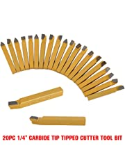 "Purewing 20Pcs 1/4"" Carbide Tip Tipped Lathe Metal Cutter Tools Cutting Turning Tool Set Shank High Hardness Turning Milling Welding Bit"