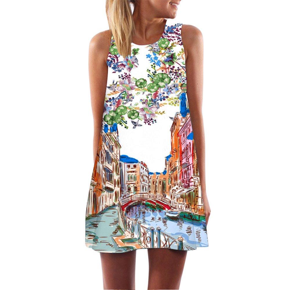 KYLEON Women Dresses Vintage Boho Summer Sleeveless 3D Print Dress Casual Beach Short Mini Loose T-Shirt Swing Sundress Blue