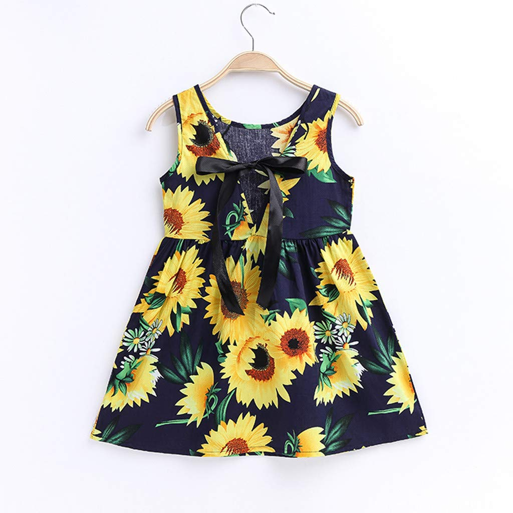 Vicbovo Clearance Kids Toddler Baby Girls Sunflower Print Dresses Sleeveless Backless A-line Party Sundress Summer Clothes (3-4 Years, Navy) by Vicbovo Clearance (Image #2)