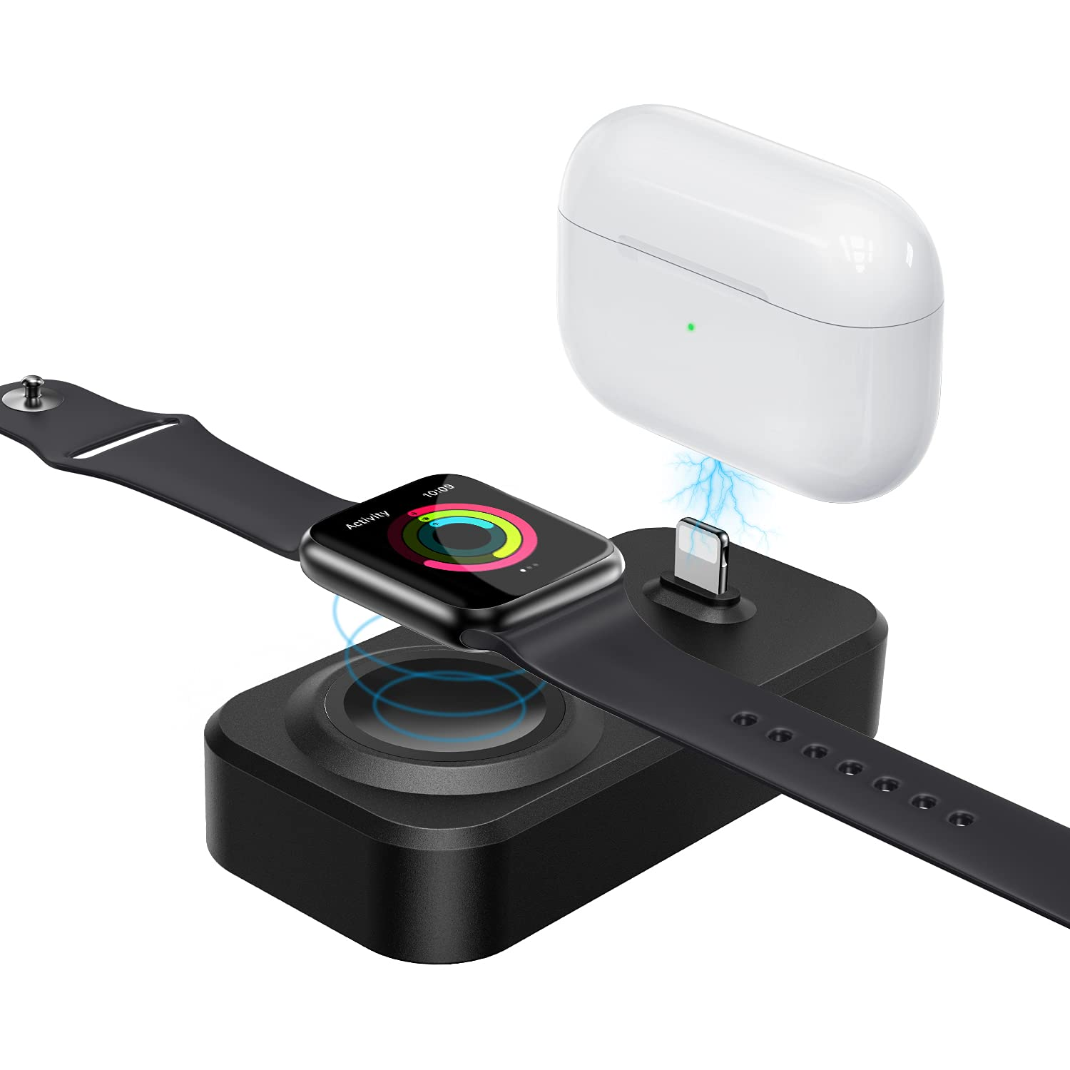 2 in 1 Charger Stand for Apple Watch and Airpods, Aluzdoso Charging Dock Compatible with Apple Watch 6/SE/5/4/3/2/1 (44mm, 42mm, 40mm, 38mm) & Airpods Pro/1/2
