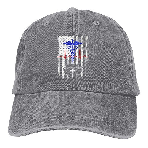 American Flag Nurse Hat Denim Hat Adjustable Unisex Tactical Baseball Cap (Ashes Of American Flags Dvd)
