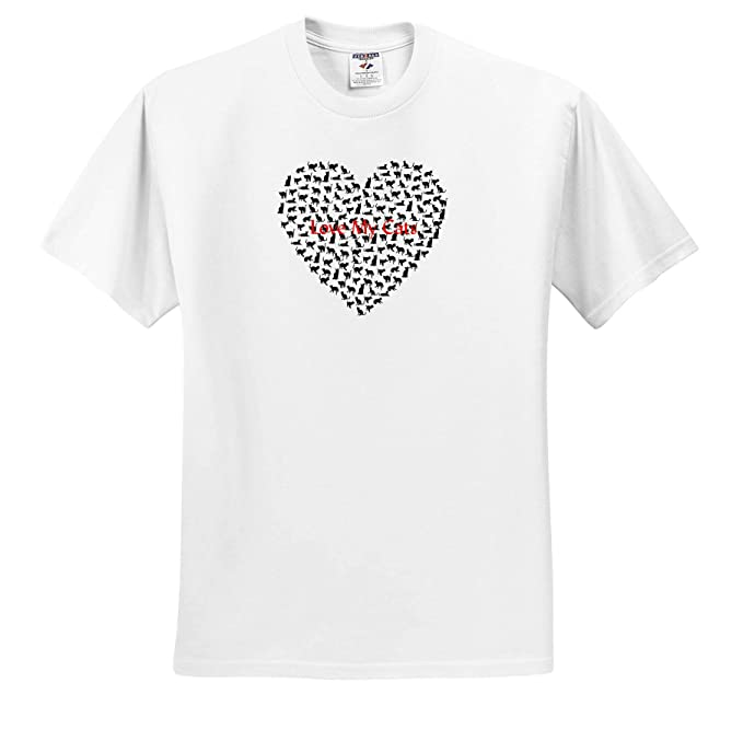 3dRose Lens Art by Florene Image of Text Love My Cats Make Up Large Heart T-Shirts Valentines