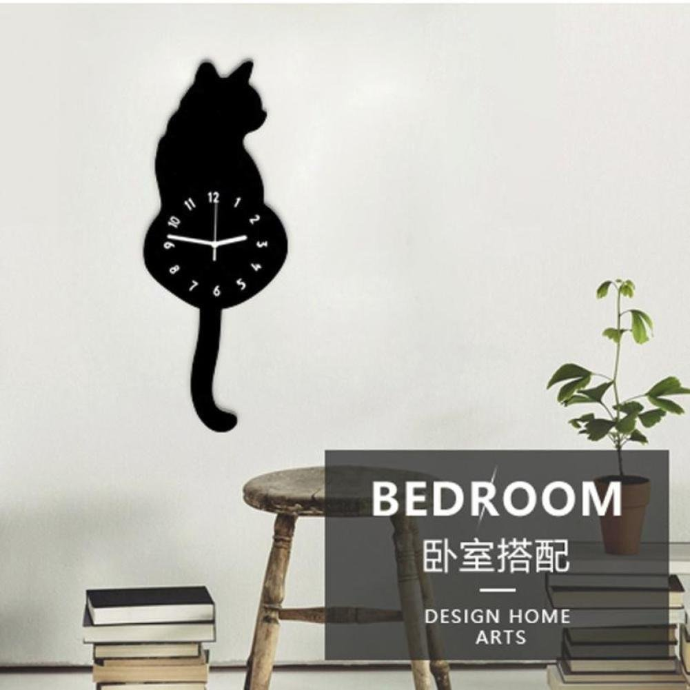 DDLBiz Creative Swing Tail Non Tick Cartoon Cute Cat Dog Wall Clock Home Decor (E) SDSJ-733500662