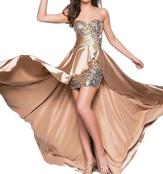 Mujer Vestidos De Fiesta para Bodas Largos Elegantes Vintage Asimétrica con Lentejuelas Strass Vestidos De Coctel