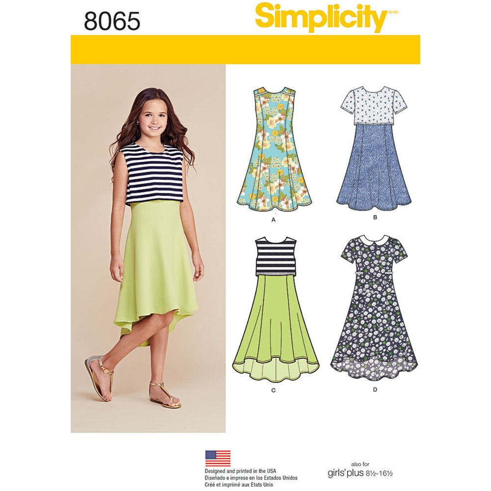 Simplicity Creative Patterns US8065AA Simplicity Patterns Girls' and Girls' Plus Dress or Popover Dress Size: AA (8-10-12-14-16), 8065 OUTLOOK GROUP CORP