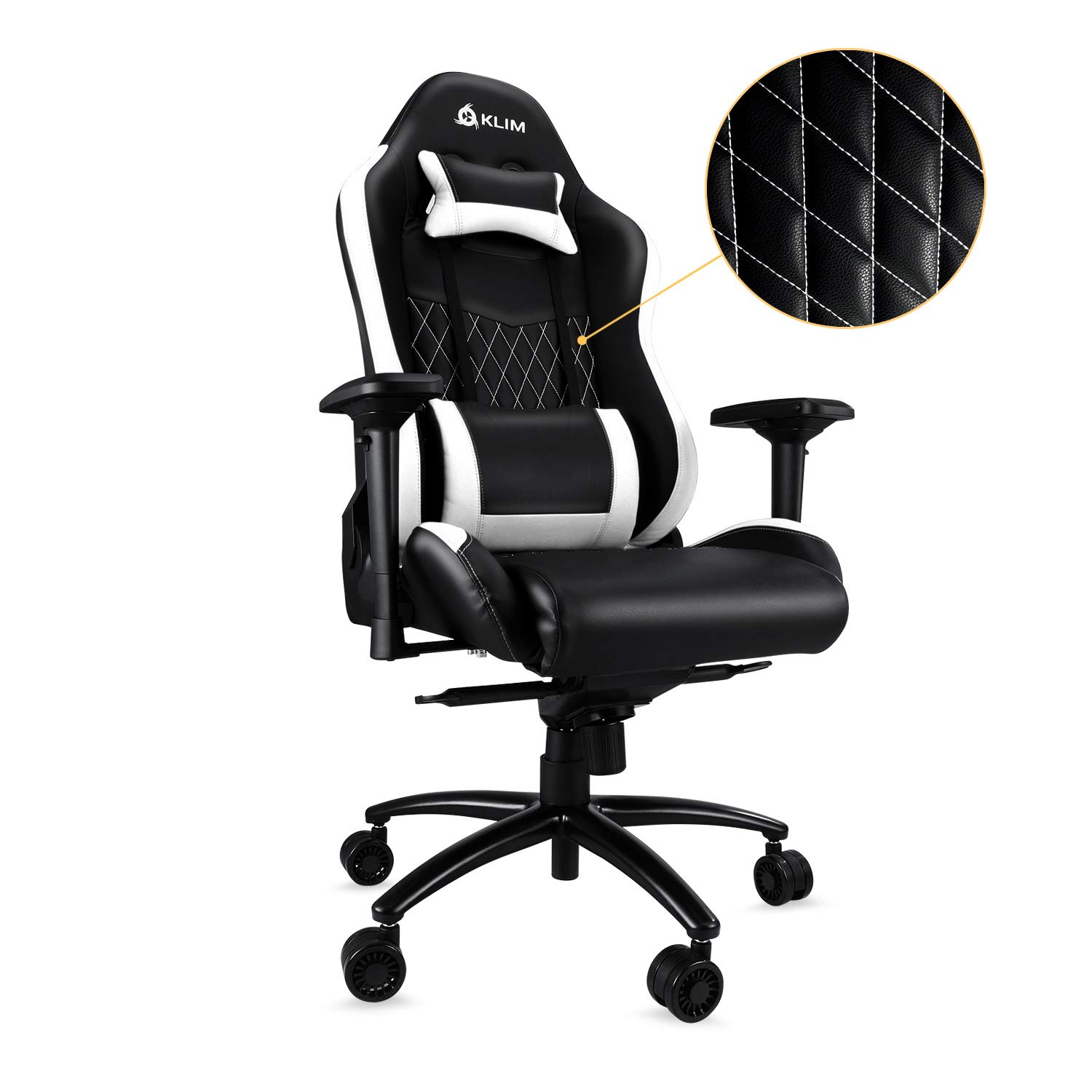 ... Racing Computer Chair - Back & Head Support - New - Adjustable Armrest - Desk & Office Recliner - Silla Gamer - Black & White Cushion: Kitchen & Dining