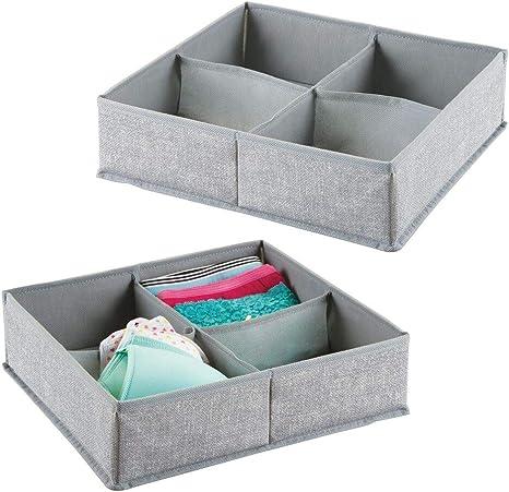 mDesign Juego de 2 cajas organizadoras de tela con 4 compartimentos – Los organizadores para cajones y armarios ideales – Versátiles cestas de tela – Color: gris: Amazon.es: Hogar
