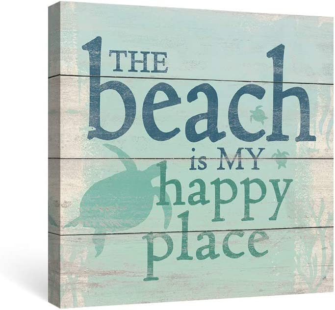 SUMGAR Motivational Wall Art Bathroom Inspirational Quotes Canvas Paintings Rustic Decor Costal Teal Pictures Green Turtle Ocean Prints Nautical Artwork Beach House Decorations,12x12 inch