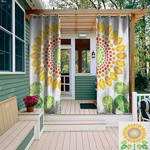 leinuoyi Sunflower, Outdoor Curtain Wall, Round Sunflower Mandala Design with Diamond and Pearl Figures Print, for Balcony W84 x L96 Inch Yellow White and - Scroll Pearl Design