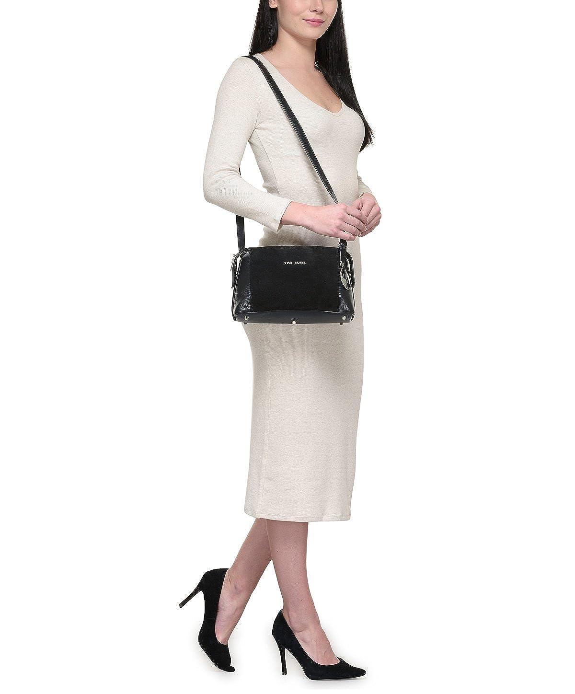 Black, PR1290 Phive Rivers Womens Leather Crossbody Bag