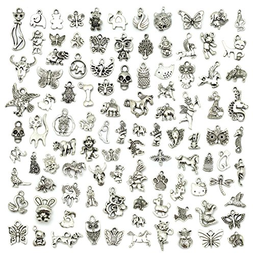 Bracelet Charm Animal - JIALEEY Wholesale 100 PCS Mixed No Repeated Silver Pewter Smooth Metal Charms Pendants DIY for Necklace Bracelet Dangle Jewelry Making and Crafting, Animal Charms