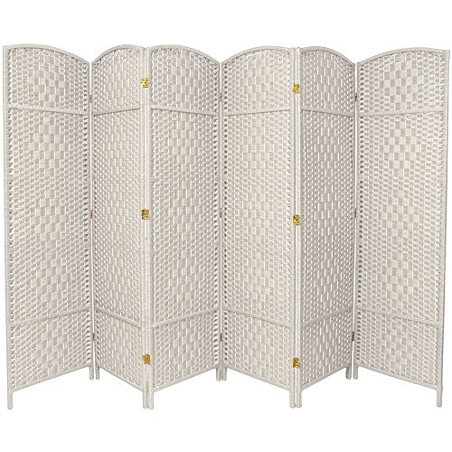 Oriental Furniture 6 ft. Tall Diamond Weave Fiber Room Divider - White - 6 Panel - Furniture White Panel