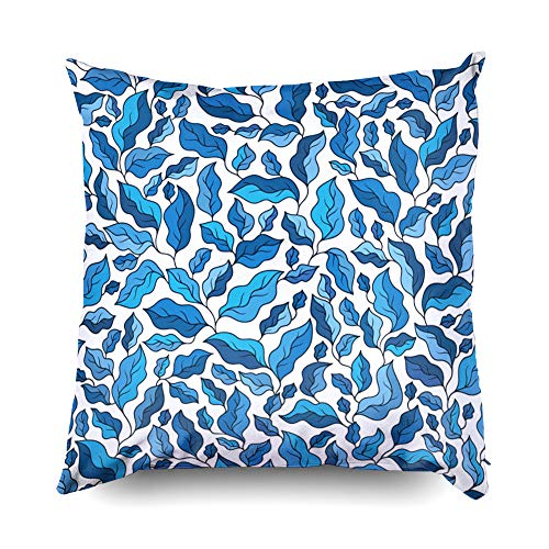 (Shorping Zippered Covers Pillowcases 16X16 Inch Floral Pattern Blue Leaves Perfect Wallpapers Wrapping Papers Textile Fills Gift Paper Decorative Throw,Cushion Cover for Home Sofa Bedding)