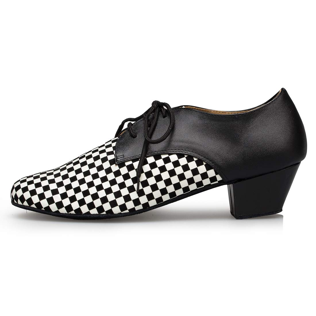 MGM-Joymod Mens Classic Lace-up Checkered Pattern Tango Salsa Ballroom Latin Modern Dance Shoes