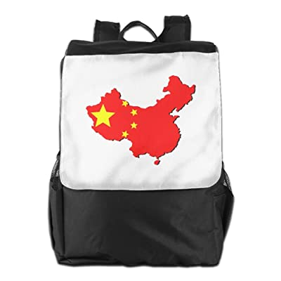 Kuswaq Map Of China With Flag Unisex Casual Backpack School Travel Shoulder Bag Lightweight Packable Durable Travel Hiking Backpack Daypack
