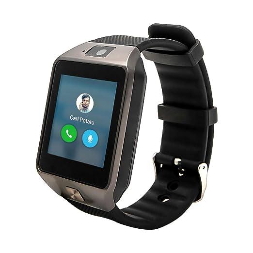 Reloj inteligente TOP-MAX DZ09, conexión bluetooth, color negro, con ranura para tarjeta SIM, cámara, compatible con teléfonos Android, iOS, iPhone 7, ...