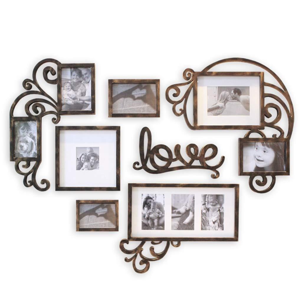 Unbekannt Hochzeit Bilderrahmen Foto Wanddekoration Hochzeitszimmer Romantische Herzform Kreative Persönlichkeit Wohnzimmer Schlafzimmer Wand Kombination Set (Color : Black, Size : 109 * 83CM)