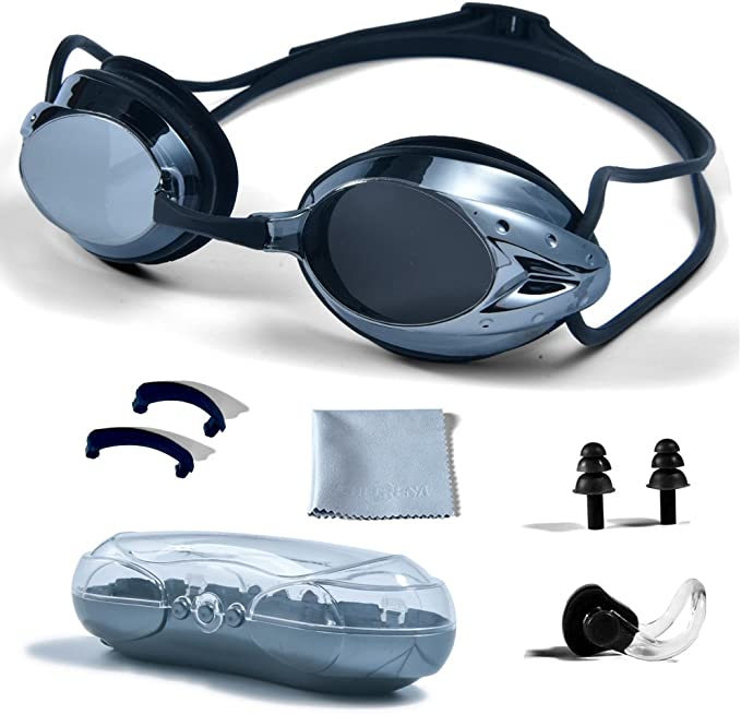 Soft Durable Rubber Silicone MC887 Swallow Swimming Goggles with Attached Ear Plugs Polarized UV Protection Watertight Anti-Fog Adjustable Strap Comfort Glasses No Leak Comfortable Nose Piece