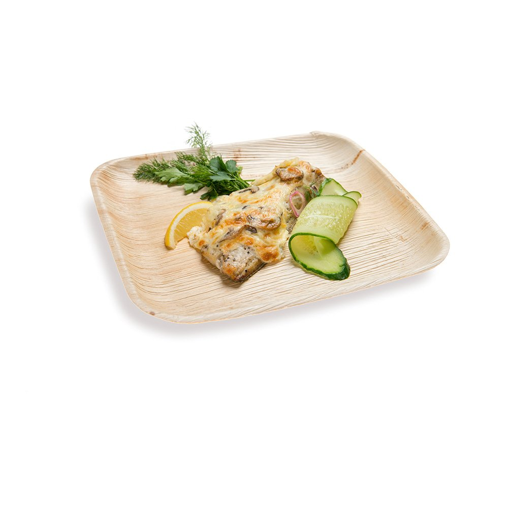 8-inch Eco-Friendly Indo Palm Leaf Square Plate: Perfect for Parties and Catering Events - Natural Color - Disposable Biodegradable Party Plates - 100-CT - Restaurantware