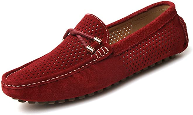 Elegdy Mens Driving Penny Loafers Suede Genuine Leather Casual Moccasins Slip-On Boat Shoes Color : Navy, Size : 8.5 MUS