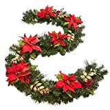 BrylaneHome Pre-Lit Poinsettia Garland (Red,0)