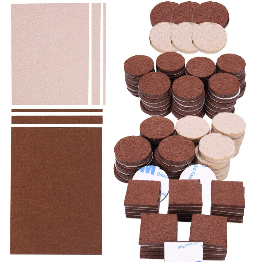 288 Piece Premium Furniture Felt Pads Maveek Furniture Feet Pads Brown 169 + Beige 119 Various Sizes Best Wood Floor Protectors Felt Furniture Coasters Protect Your Hardwood & Laminate Flooring by Maveek (Image #1)