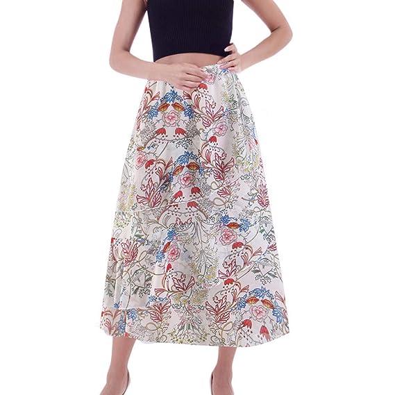 Falda Estampada Larga Mujer Boho Elegante Vintage/QIjinlook/Falda ...