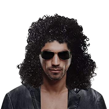 Halloween Rockstar.Cexin Men S Rocker Wig 70s 80s Men S Party Fancy Dress Halloween Wig Long Curly Black Mullet Rockstar