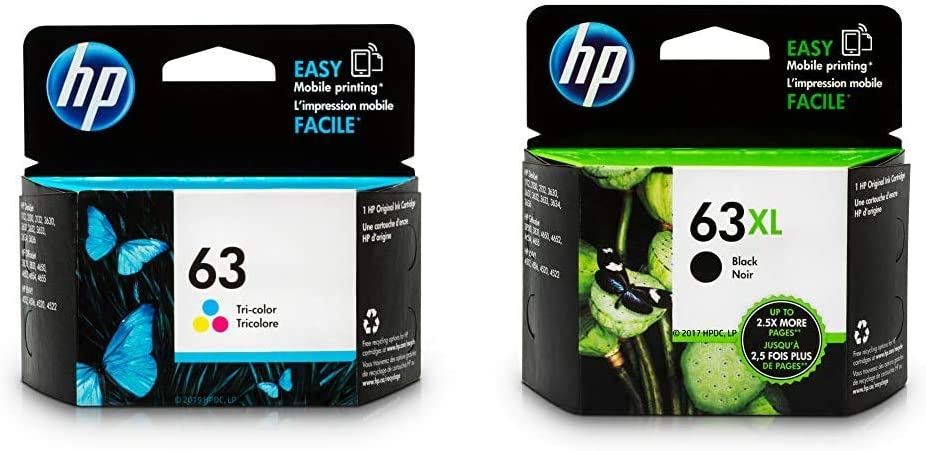 HP 63 | Ink Cartridge | Tri-Color | F6U61AN & 63XL | Ink Cartridge | Black | F6U64AN