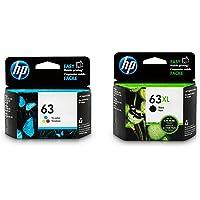 HP 63XL Black High Yield & HP 63 Tri-Colour Original Ink Cartridges 2 Cartridge Bundle (F6U64AN + F6U61AN)