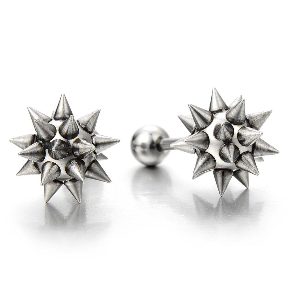 Hip Hop Stainless Steel Star Spike Hammer Stud Earrings for Man and Women, Screw Back, 2 Pcs