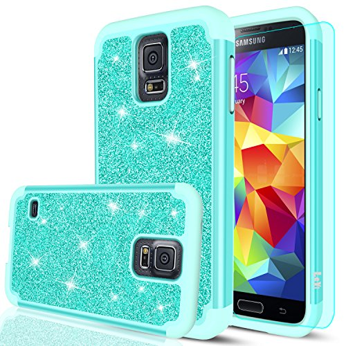 Galaxy S5 Glitter Case with HD Screen Protector,LeYi Bling Cute Girls Women Design [PC Silicone Leather] Dual Layer Heavy Duty Protective Phone Case for Samsung Galaxy S5 TP Mint
