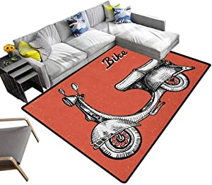 Vintage Household Carpet Retro Scooter Sign for Bike Bicycle Rent Classic Grunge Illustration Artwork Yoga Mat Rug Red Black White (4'x6')