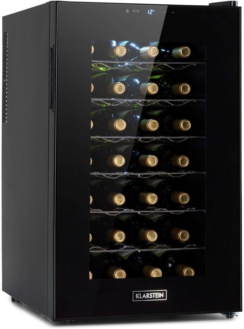 Klarstein Barolo 28 Uno nevera para vinos, 70 litros / 28 botellas, temperatura: 11-18 °C, ruido: 26 dB, 6 baldas, luces LED, protección UV, nevera incependiente, negro