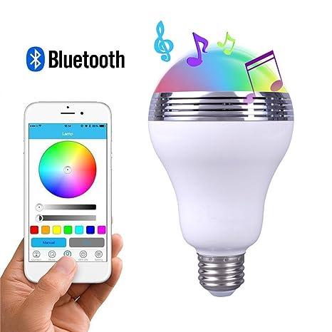 GBATERI Bocina Bluetooth Bombilla LED Luz Led inteligente Bombilla E27 Con altavoz Multicolor que cambia las ...