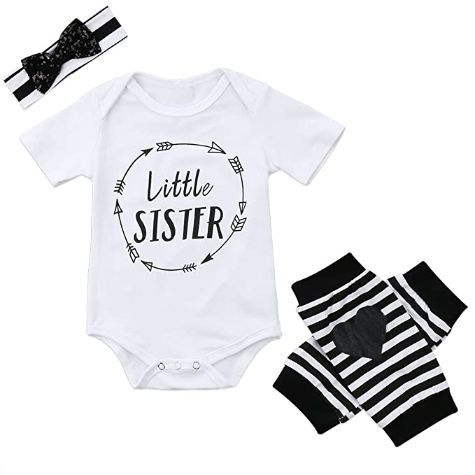 b80d15c6f95 Amazon.com  Baby Girls Little Sister Letter Print Romper Bodysuit and Love  Heart Leg Warmers Socks with Headband White  Clothing