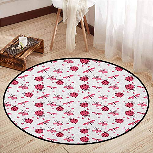 Living Room Round Mat,Ladybugs,Domed Back Round Ladybugs with Hearts Flowers Dragonflies Romantic Wings Pattern,Anti-Slip Doormat Footpad Machine Washable,2'11
