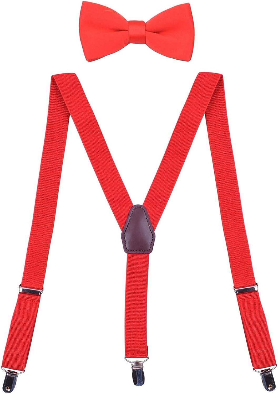 ORSKY Mens Suspenders with Bow Tie Set Adjustable Y Back