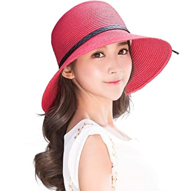 aff460a0f15 Siggi Ladies Summer Straw Panama Beach Fedora Floppy Sun Hat Wide Brim  Bowknot for Women Red