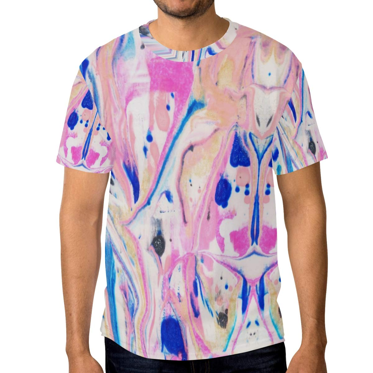 Horatiood Huberyyd Watercolor Paintnig Marble Mens T Shirts Graphic Funny Body Print Short T-Shirt Unisex Pullover Blouse