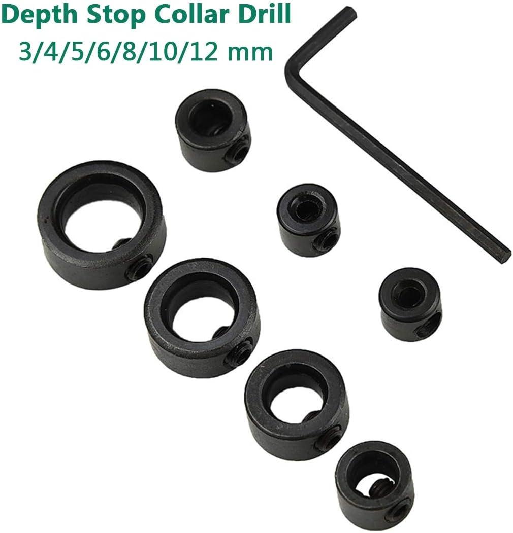 8pcs Drill Bit Shaft Depth Stop Collar Ring 3mm 4mm 5mm 6mm 8mm 10mm 12mm 16mm