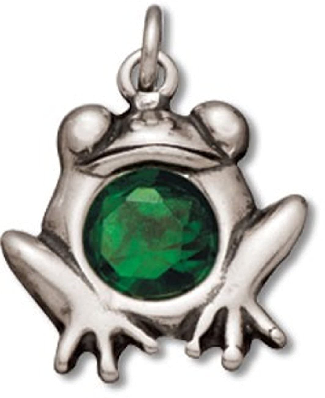 Sterling Silver Charm Bracelet With Attached Green Cubic Zirconia Sitting Toad Frog Charm
